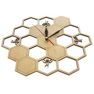 Cut Wood Clock Honey Bee on Honey Comb Hexagon Nature Watch Wall Clock Geo E8T1