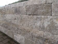 Mauersteine Trockenmauer Steinmauer Naturstein Mauer Travertin Silver Grau