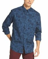 DKNY Mens Blue Size 2XL Floral Paisley Printed Classic Fit Button Down $79 174