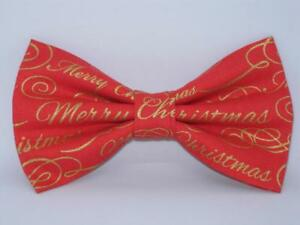Christmas Bow tie / Metallic Gold Merry Christmas on Red / Pre-tied Bow tie
