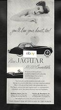 JAGUAR NEW XK-120 CONVERTIBLE FOR 1953 120 MPH SPEED AD