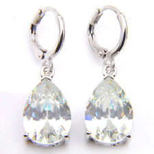 Gorgeous Shiny Teardrop Natural Fire Topaz Gemstone Silver Dangle Hook Earrings