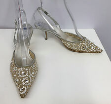 RENE CAOVILLA SHOES EVENING SILVER MESH MANY CRYSTALS LEATHER SLINGBACKS 37 7