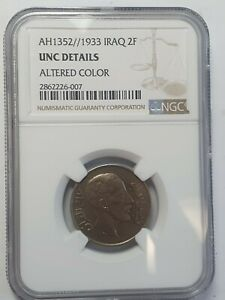 AH1352 / 1933 Iraq 2 fils Coin, NGC rated UNC details Cleaned
