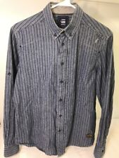 G-Star Raw Denim Men Size L Blue Black Striped Shirt Button Up & Zip Long Sleeve