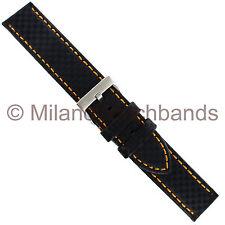 18mm Hadley Roma Carbon Fiber Black Padded Watch Band with Orange Stitching 847