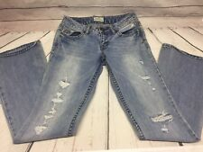 Aeropostale Womens 1/2 Blue Jeans Hailey Flare Heavy Distressed Light Wash