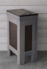 Wood Trash Can, Kitchen Garbage Can,Wood Trash Bin,Gray & Walnut w/ Metal Handle