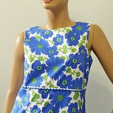 Blue Poppy Marigold Dress Talbots Petites Sz 12 Made in USA Stretch
