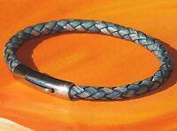 Mens / ladies 5mm blue braided leather & stainless steel bracelet - Lyme Bay Art