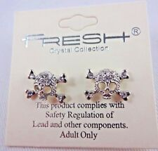Skull crossbones earrings rhinestone studs silver base metal Fresh