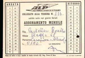 1968 TESSERA AUTOBUS AUTOSERVIZI LENGUEGLIA PAOLO ALBENGA LIGURIA 1-132