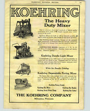 1921 PAPER AD 2 Sided Koehring Co Cement Mixer Concrete T L Smith Road Grader