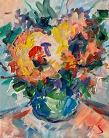 FLOWERS Oil Painting Impressionism Still Life Collectable Modern Texture Impasto