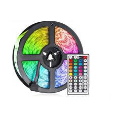 STRISCIA STRIP LED 5050 5M LUCE IP65 ALIMENTATORE 12V TELECOMANDO RGB 13W/M 0254