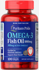 Puritan's Pride Omega-3 Fish Oil 1000 mg (300 mg Active Omega-3) Made In USA