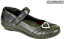 Girls School Shoes US Brass Kids Children's Smart Black Size 8- 12 UK