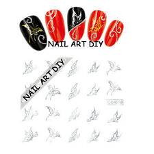 20 Adesivi Tattoo per unghie FARFALLE D'ARGENTO-Stickers-nail art water transfer