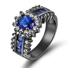Size 7 Cute Blue Sapphire Black 18K Gold Filled Women's Engagement Wedding Ring