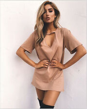 Sexy Women Choker V Neck Long Top T-shirt Casual Party Mini Dress Blouse