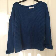 Ladies Blue Rib-Sleeve Stretch Knit Jumper New Look Size 10 New