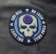 ONE SHOT ONE KILL SKULL NO LUCK TACTICAL COMBAT SWAT HOOK PATCH