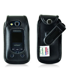 Samsung Convoy 4 Flip Phone Fitted Case Black Leather Rotating Clip Turtleback