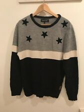 Men's River Island Navy & Grey Star Jumper Size Medium Brand New Without Tags
