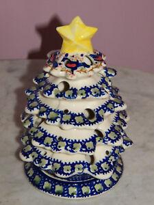 Polish Pottery Christmas Tree Tea Light! UNIKAT Signature Exclusive Songbirds!