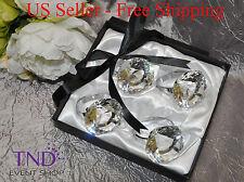 GLASS CRYSTAL DIAMOND NAPKIN RING HOLDERS – SET OF 4 WEDDING TABLE DECOR