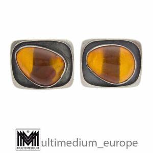 Modernist Bernstein Silber Manschettenknöpfe vintage cuff links amber 🌺🌺🌺🌺🌺