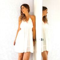 NEW Topshop White Beach Coverup Dress Mini Sheer Tassels Boho Babydoll Large
