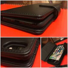 Genuine Real Leather Wallet Case Limited Edition Design Black for iPhone 8