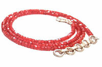 """Silver Plated Necklace 18"""" Sreand Orange Zircon Round Faceted Beads 3 mm KJ1545"""