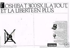 Publicité Advertising 1989 (2 pages) Ordinateur PC Toshiba T3100 SX
