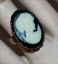 VINTAGE BLACK PLASTIC CAMEO OVAL RING SILVER ADJUSTABLE • 25x18mm