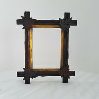 Antique Walnut Wood Adirondack Black Forest Picture Frame- Nice Size