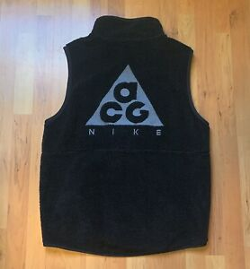 Mens Nike ACG Sherpa Fleece Pile Back Logo Vest Triple Black Sz M AT5498-012
