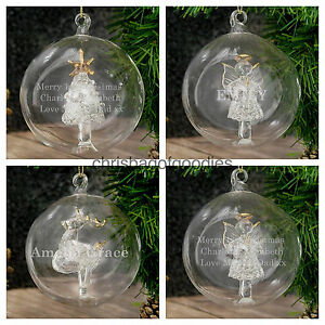 PERSONALISED GLASS CHRISTMAS Xmas TREE DECORATION Ornament BAUBLE Gifts Him Her