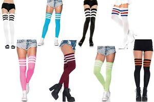 Athlete Thigh Highs W/3 Stripe Top, Tennis, Hockey, Sport Fancy Dress, Pub Golf