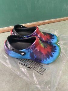 Nwob Crocs Tye Dye Hippie Clogs Men's Size 10 Women's Size 12 With Ankle Strap