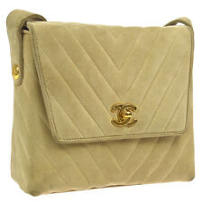 CHANEL V Stitched Quilted CC Shoulder Bag Purse Beige Suede 3178632 A46512a