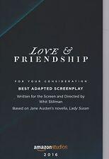 LOVE & FRIENDSHIP screenplay ltd 1st ed Oscar voters JANE AUSTEN Whit Stillman