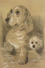Jules CHARDIGNY1842-1892attr Para. Carboncillo : perros Cocker Inglés Yorkshire