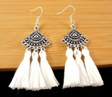 Statement Pair of White Cotton Tassels Dangle Fashion Boho Earrings #1449