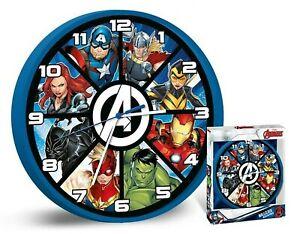 Licensed Marvel Avengers Wall Clock Unisex Kids Xmas Gift Analog Time Teacher 3+