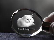 Turkish Angora Cat, Cat Crystal Round Keyring, High Quality, Crystal Animals Ca