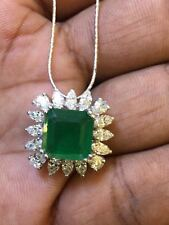 5.50 Cts Marquise Pear Natural Diamonds Emerald Pendant Chain In 18K White Gold