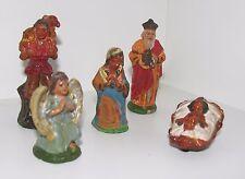 5 Stück Alte Antike Krippenfiguren Weihnachtsfiguren Gips Engel, Maria, Jesus...