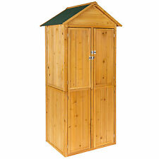 Wooden outdoor garden cabinet utility storage tools shelf box shed piched roof